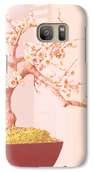 Galaxy Case featuring the painting Cherry Bonsai Tree by Marian Cates