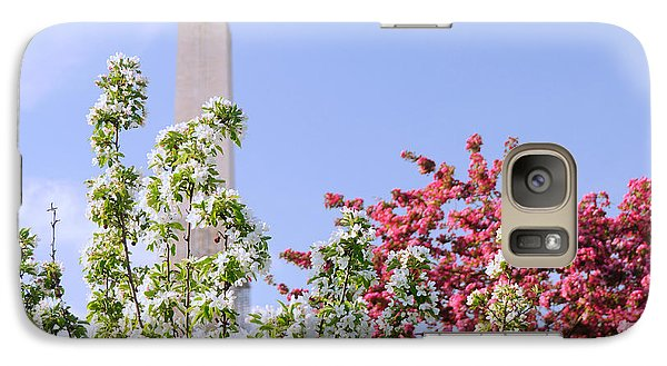 Galaxy Case featuring the photograph Cherry Trees And Washington Monument Four by Mitchell R Grosky