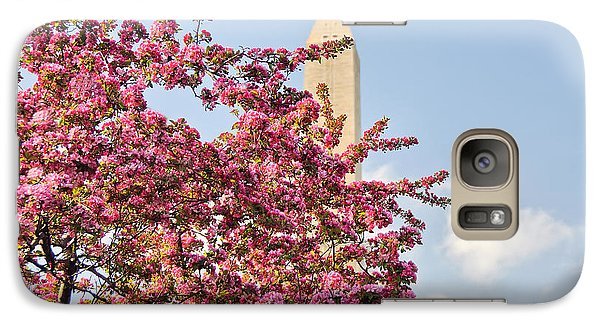 Galaxy Case featuring the photograph Cherry Trees And Washington Monument One by Mitchell R Grosky