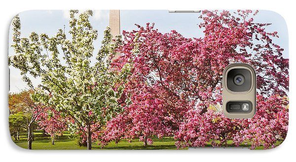 Galaxy Case featuring the photograph Cherry Trees And Washington Monument Three by Mitchell R Grosky