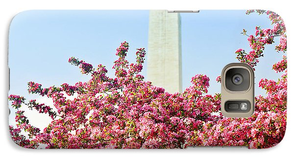 Galaxy Case featuring the photograph Cherry Trees And Washington Monument Two by Mitchell R Grosky