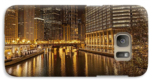 Galaxy Case featuring the photograph Chicago At Night by Daniel Sheldon