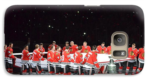 Galaxy Case featuring the photograph Chicago Blackhawks And The Banner by Melissa Goodrich