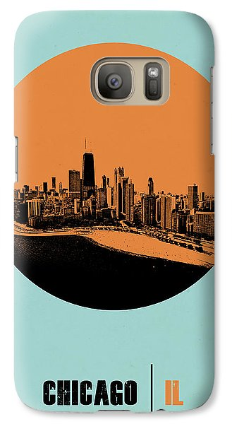 Sears Tower Galaxy S7 Case - Chicago Circle Poster 2 by Naxart Studio