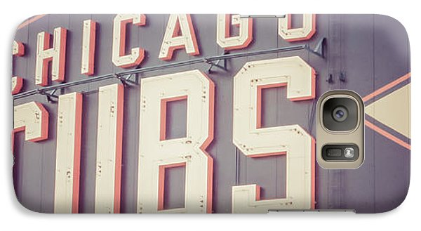 Chicago Cubs Sign Vintage Panoramic Picture Galaxy Case by Paul Velgos
