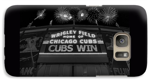 Chicago Cubs Galaxy S7 Case - Chicago Cubs Win Fireworks Night B W by Steve Gadomski