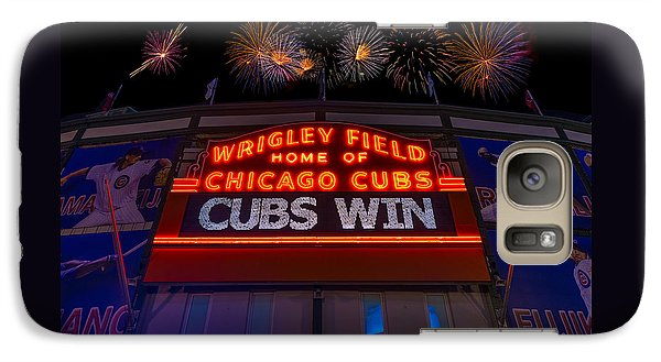 Chicago Cubs Galaxy S7 Case - Chicago Cubs Win Fireworks Night by Steve Gadomski