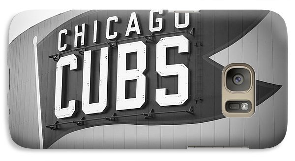 Chicago Cubs Wrigley Field Sign Black And White Picture Galaxy S7 Case by Paul Velgos