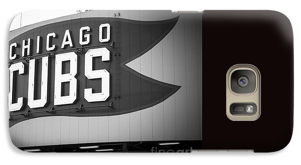 Chicago Cubs Wrigley Field Sign Black And White Picture Galaxy Case by Paul Velgos