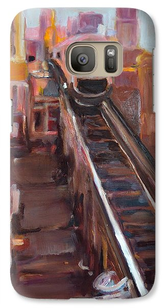 Galaxy Case featuring the painting Chicago El by Julie Todd-Cundiff