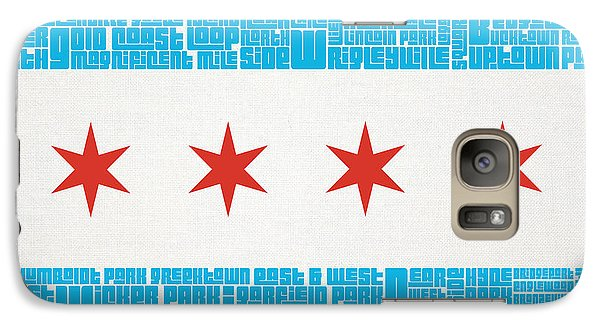 Chicago Cubs Galaxy S7 Case - Chicago Flag Neighborhoods by Mike Maher
