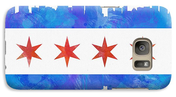 Chicago Skyline Galaxy S7 Case - Chicago Flag Watercolor by Mike Maher