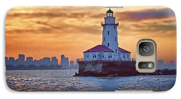 Galaxy Case featuring the digital art Chicago Lighthouse Impression by John Hansen