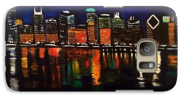 Galaxy Case featuring the painting Chicago Night Skyline by Brindha Naveen