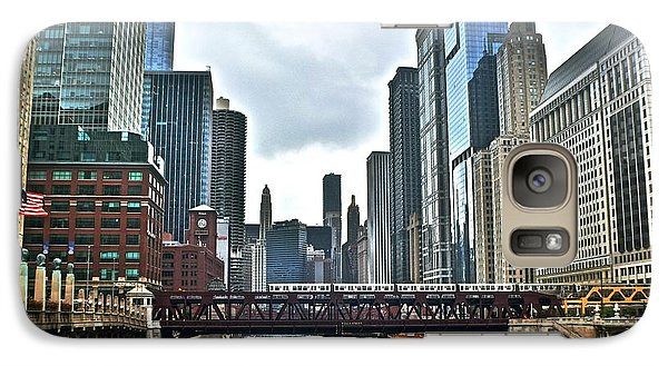 Soldier Field Galaxy S7 Case - Chicago River And City by Frozen in Time Fine Art Photography