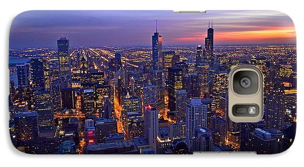 Galaxy Case featuring the photograph Chicago Skyline At Dusk From John Hancock Signature Lounge by Jeff at JSJ Photography