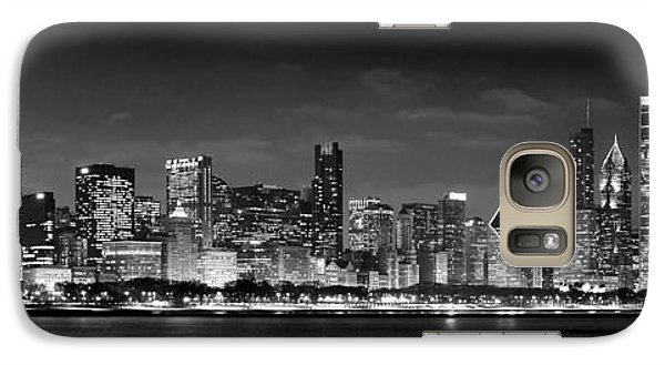 Chicago Skyline At Night Black And White Galaxy Case by Jon Holiday