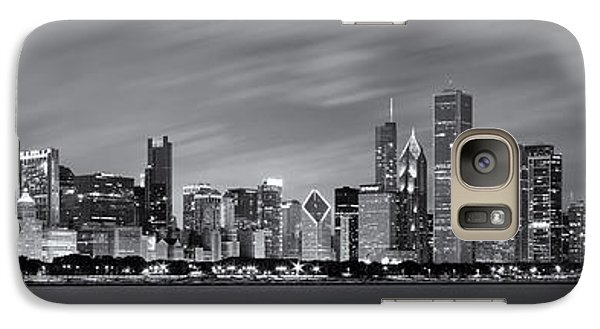 Chicago Skyline At Night Black And White Panoramic Galaxy Case by Adam Romanowicz