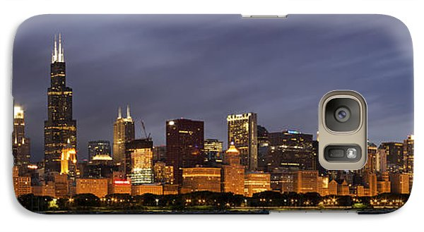 Chicago Skyline At Night Color Panoramic Galaxy S7 Case by Adam Romanowicz