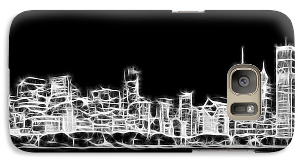 Chicago Skyline Fractal Black And White Galaxy S7 Case by Adam Romanowicz