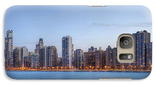 Galaxy Case featuring the photograph Chicago Skyline Night Panorama by Shawn Everhart
