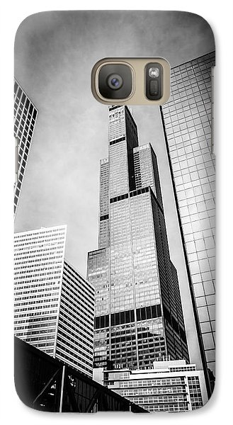 Chicago Willis-sears Tower In Black And White Galaxy Case by Paul Velgos