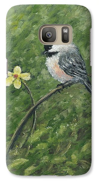 Galaxy Case featuring the painting Chickadee And Yellow Flower by Kathleen McDermott