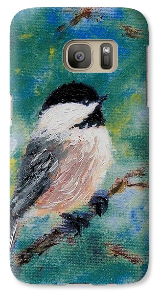 Galaxy Case featuring the painting Chickadee Fine Art Card Brushstroke Enhanced Detail Print by Kathleen McDermott
