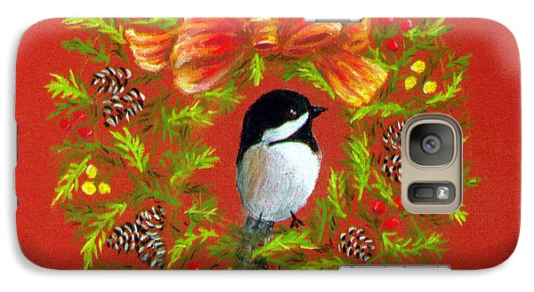 Galaxy Case featuring the painting Chickadee Holiday Greeting Card by Judy Filarecki