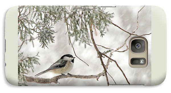 Galaxy Case featuring the photograph Chickadee In Snowstorm by Paula Guttilla
