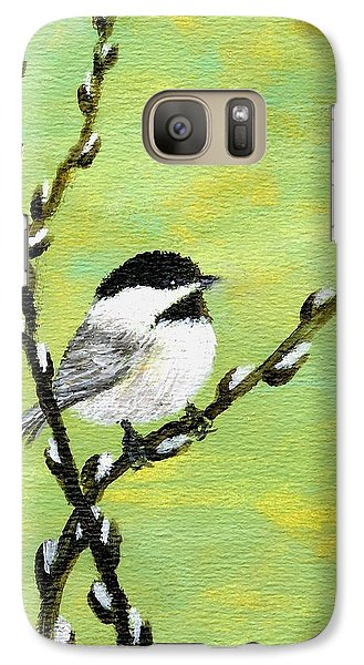 Galaxy Case featuring the painting Chickadee On Pussy Willow - Bird 1 by Kathleen McDermott