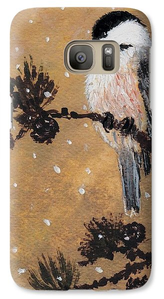 Galaxy Case featuring the painting Chickadee Set 15 Bird 2 Detail Print by Kathleen McDermott