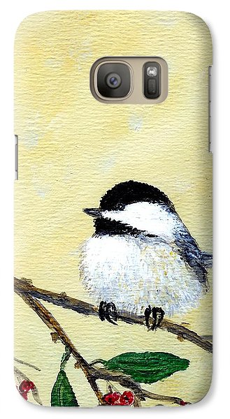 Galaxy Case featuring the painting Chickadee Set 4 - Bird 2 - Red Berries by Kathleen McDermott