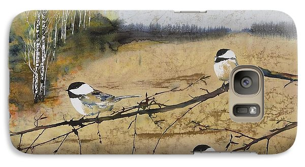 Chickadees And A Row Of Birch Trees Galaxy S7 Case