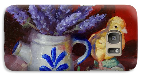 Galaxy Case featuring the painting Chicken And Lavender Still Life by Margaret Stockdale