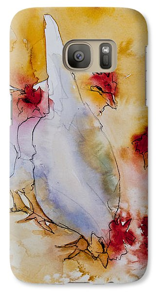 Galaxy Case featuring the painting Chickens Feed by Jani Freimann