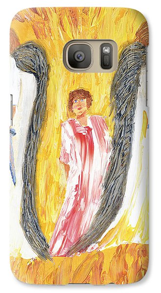 Galaxy Case featuring the painting Child Being Escorted Into Heaven by Cassie Sears