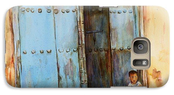 Galaxy Case featuring the painting Child Sitting In Old Zanzibar Doorway by Sher Nasser
