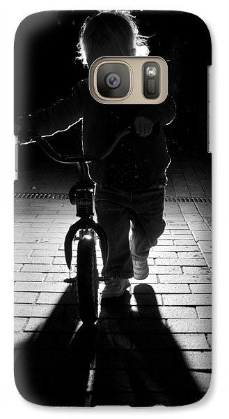 Galaxy Case featuring the photograph Child With Bike by David Isaacson