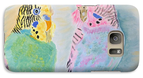 Galaxy Case featuring the painting Childhood Parakeets by Meryl Goudey