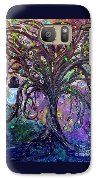 Galaxy Case featuring the painting Children Under The Fantasy Tree With Jackie Joyner-kersee by Eloise Schneider