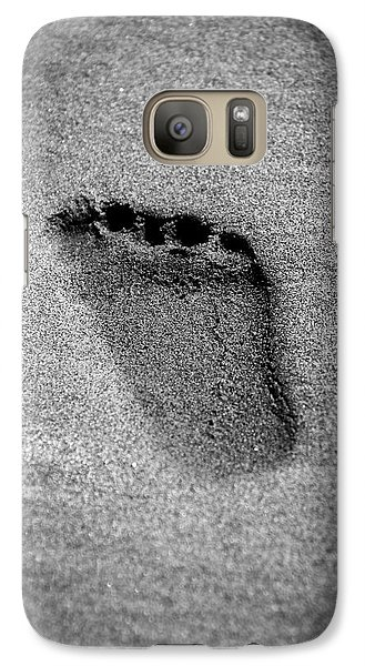 Galaxy Case featuring the photograph Child's Foot Print In The Sand by Aaron Berg