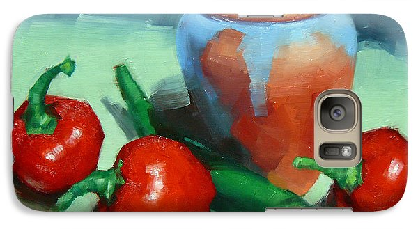 Galaxy Case featuring the painting Chilli Peppers And Pot by Margaret Stockdale