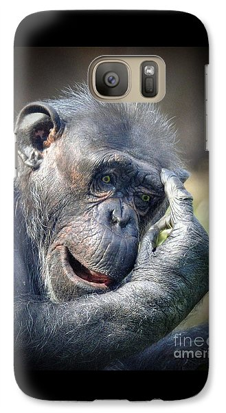 Galaxy Case featuring the photograph Chimpanzee Thinking by Savannah Gibbs