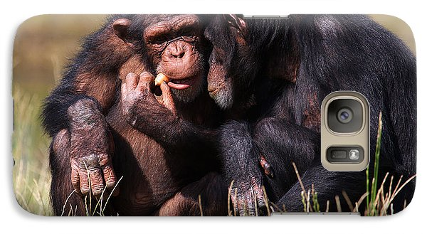 Galaxy Case featuring the photograph Chimpanzees Eating A Carrot by Nick  Biemans