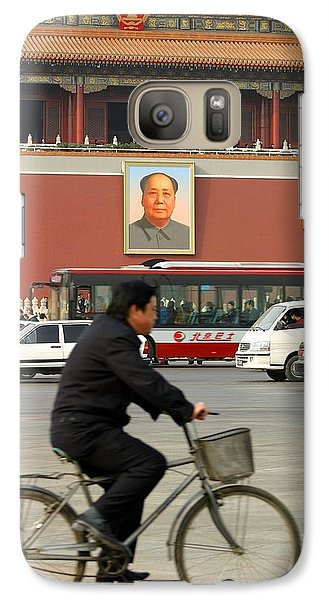 Galaxy Case featuring the photograph China Bicycle by Henry Kowalski