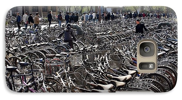 Galaxy Case featuring the photograph China Bicycle Parking by Henry Kowalski