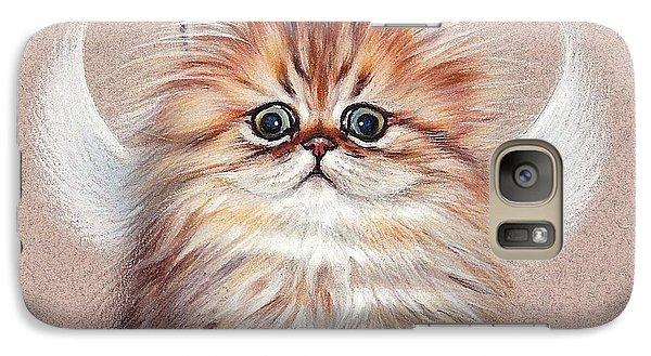 Galaxy Case featuring the drawing Chinchilla Kitten Angel by Elena Kolotusha