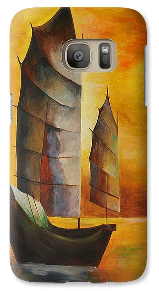 Galaxy Case featuring the painting Chinese Junk In Ochre by Tracey Harrington-Simpson