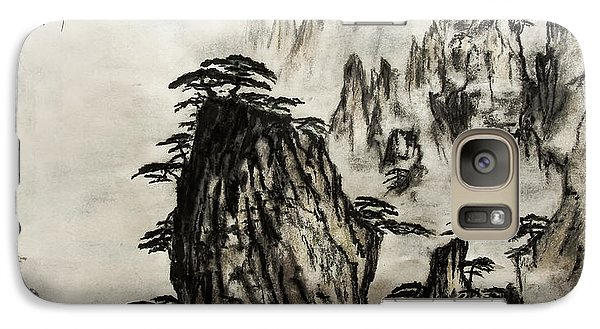 Galaxy Case featuring the painting Chinese Mountains With Poem In Ink Brush Calligraphy Of Love Poem by Peter v Quenter